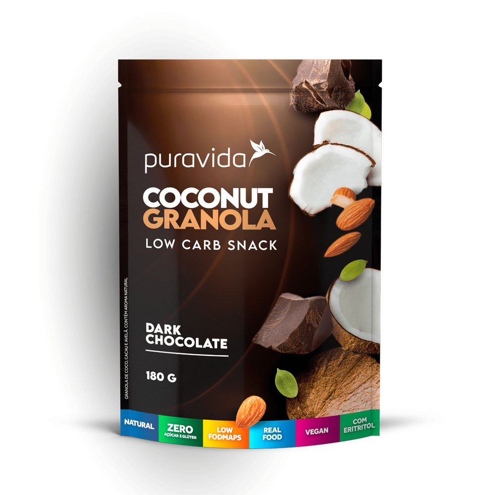 Coconut Granola Dark Chocolate 180g - Puravida  - KFit Nutrition