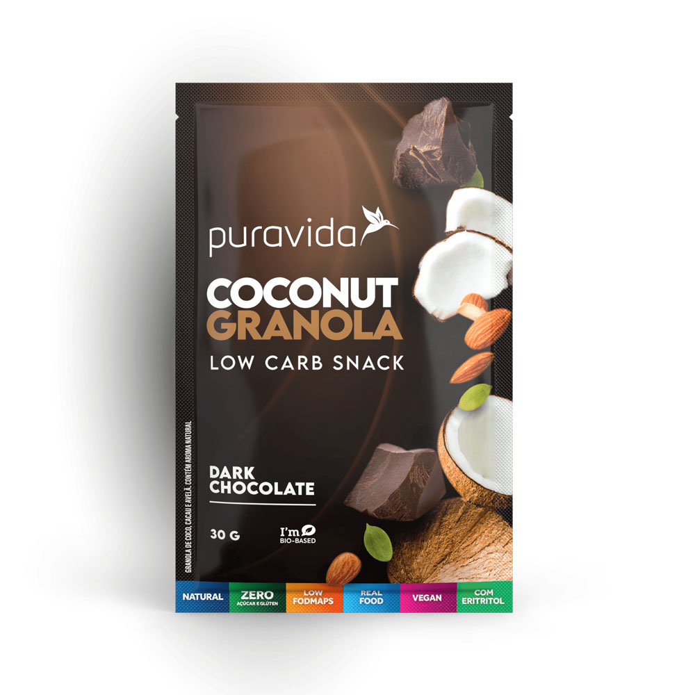 Coconut Granola Dark Chocolate 30g - Puravida  - KFit Nutrition