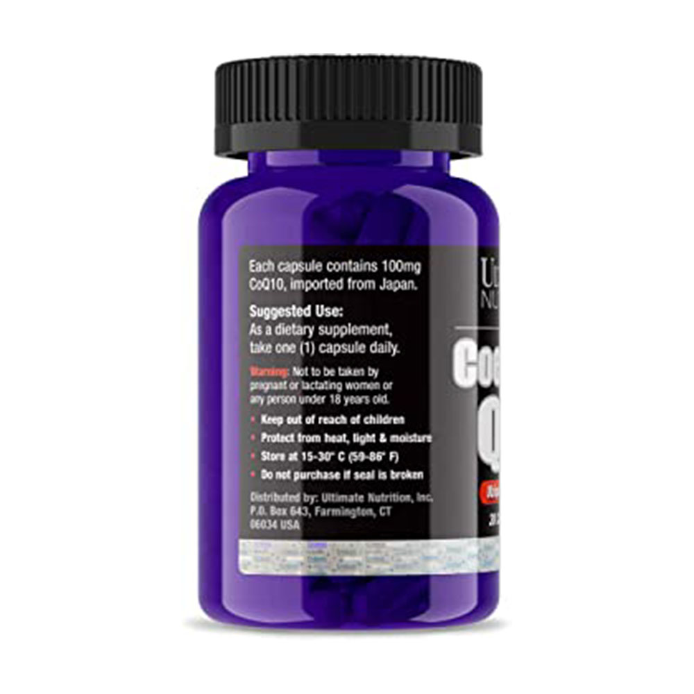 Coenzyme Q-10 100mg 30 Caps  - Coq-10 Ultimate Nutrition  - KFit Nutrition