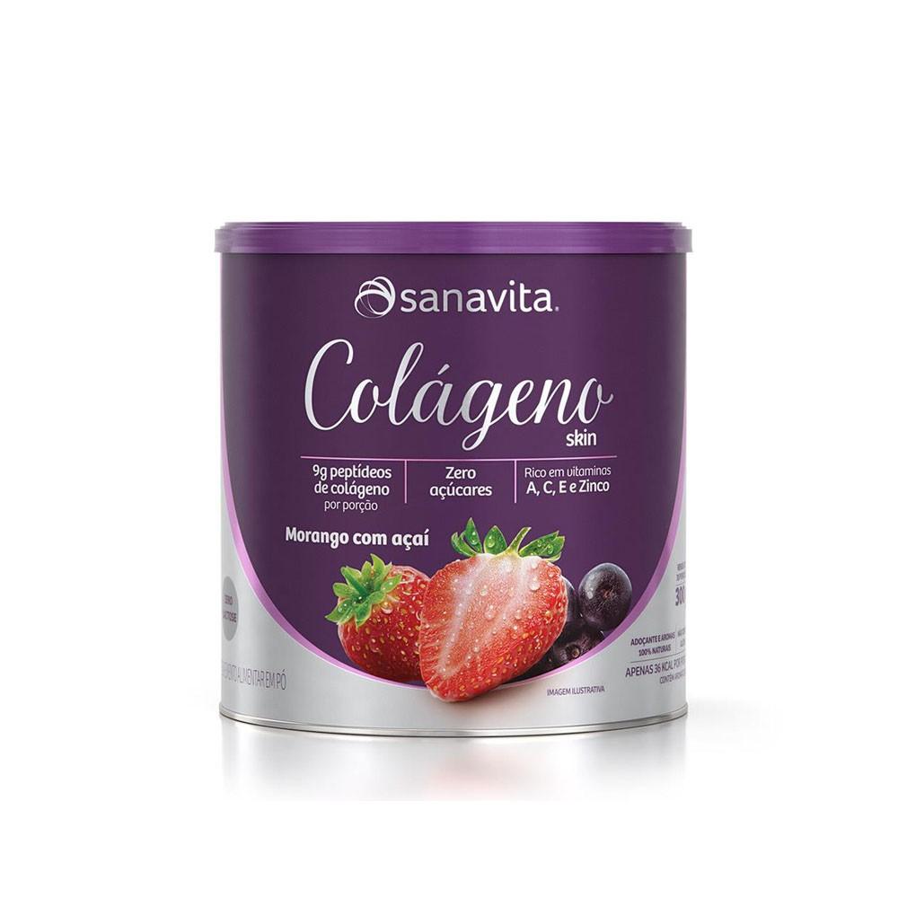 Colágeno Skin Morango com Açaí 300g - Sanavita  - KFit Nutrition