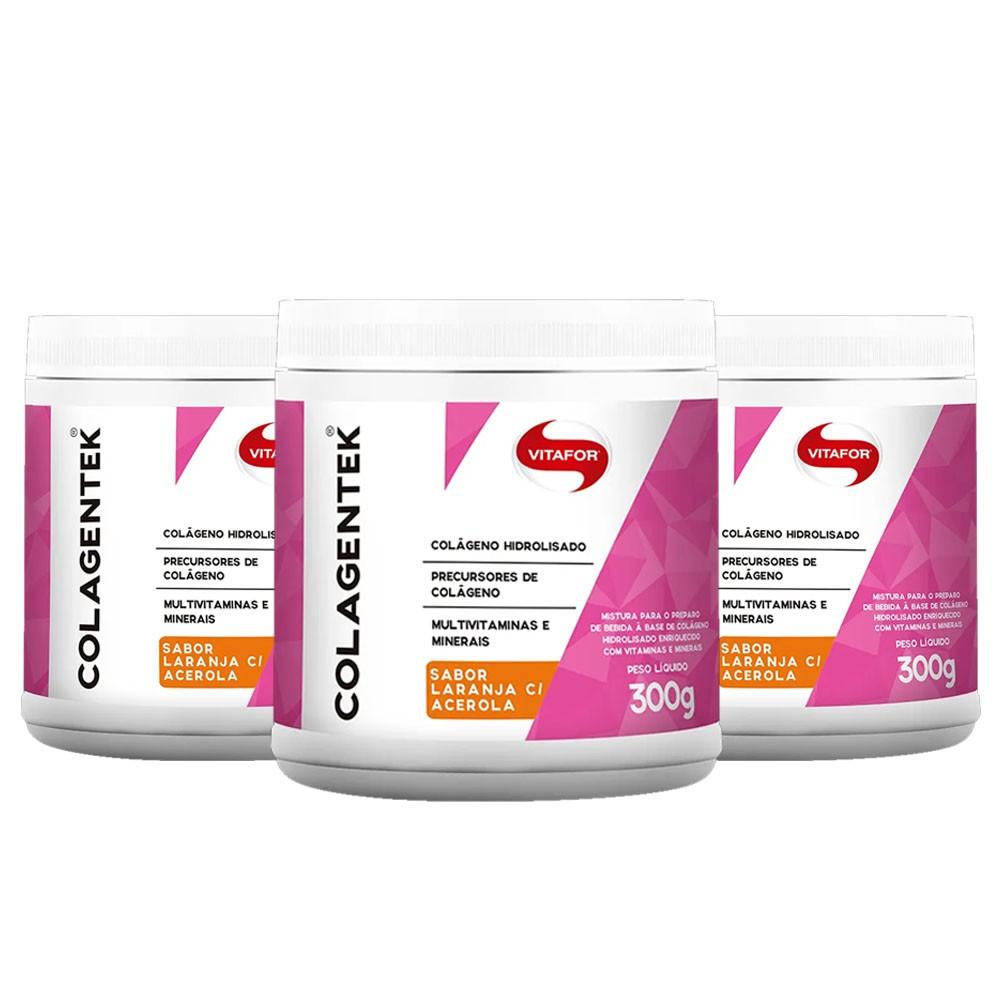 Colagentek 300G Laranja Com Acerola 3 Un Vitafor  - KFit Nutrition