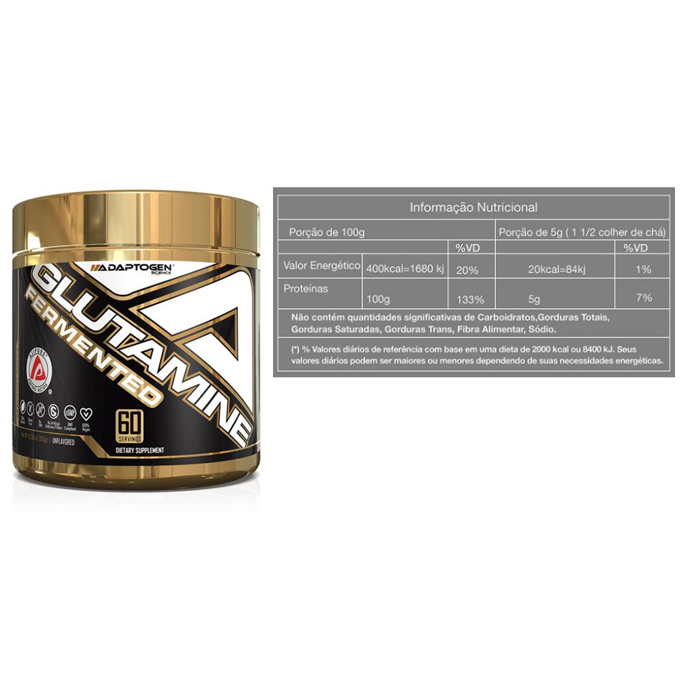 Glutamine Fermentada 300g 2 Un Adaptogem + Bottle  - KFit Nutrition