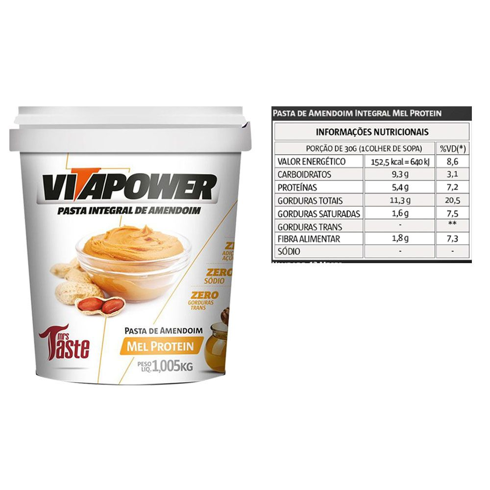Pasta de Amendoim 1Kg 2 Un Honey Vitapower  - KFit Nutrition