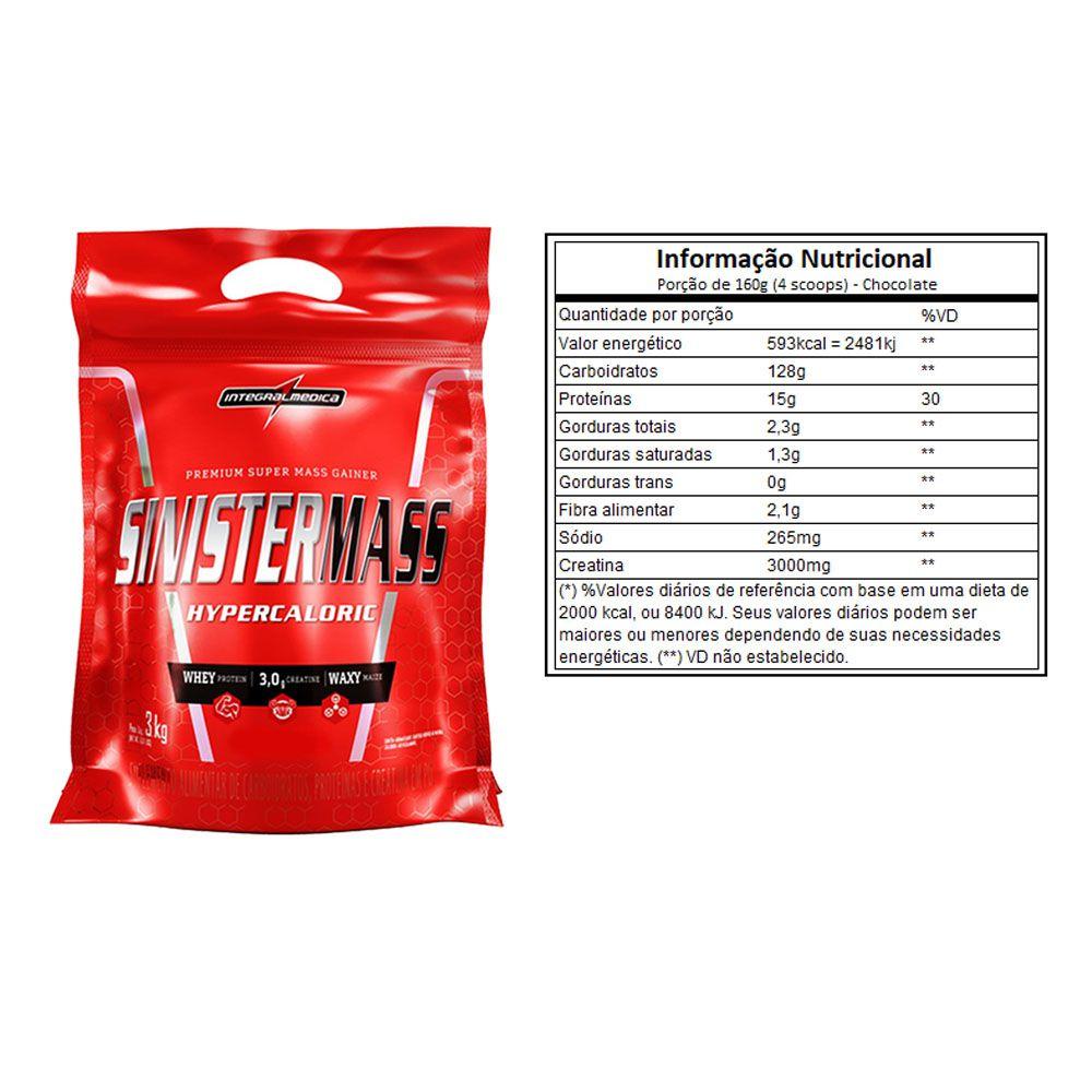 Sinister Mass 3Kg Chocolate 2 Un  - Integral Medica  - KFit Nutrition