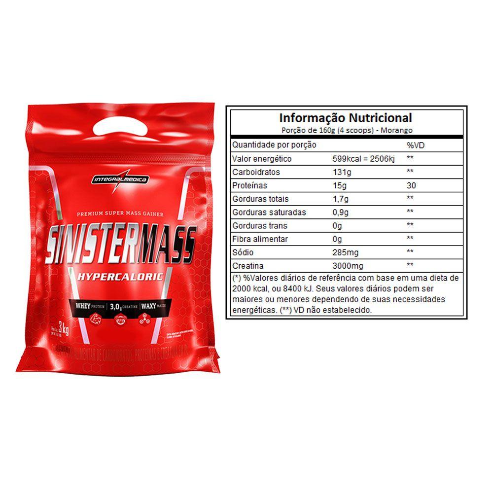 Sinister Mass 3Kg Morango 2 Un - Integral Medica  - KFit Nutrition
