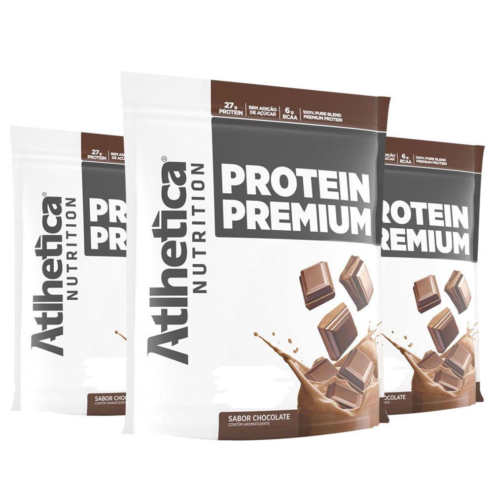 Protein Premium - Chocolate - 1,8Kg 3 Un  Atlhetica  - KFit Nutrition