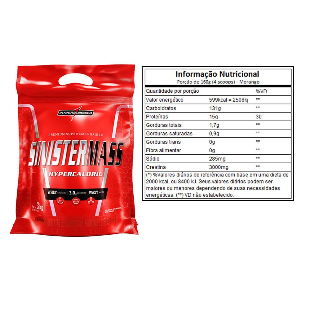 Combo 3 Un Sinister Mass 3kg Morango - Integral Medica  - KFit Nutrition