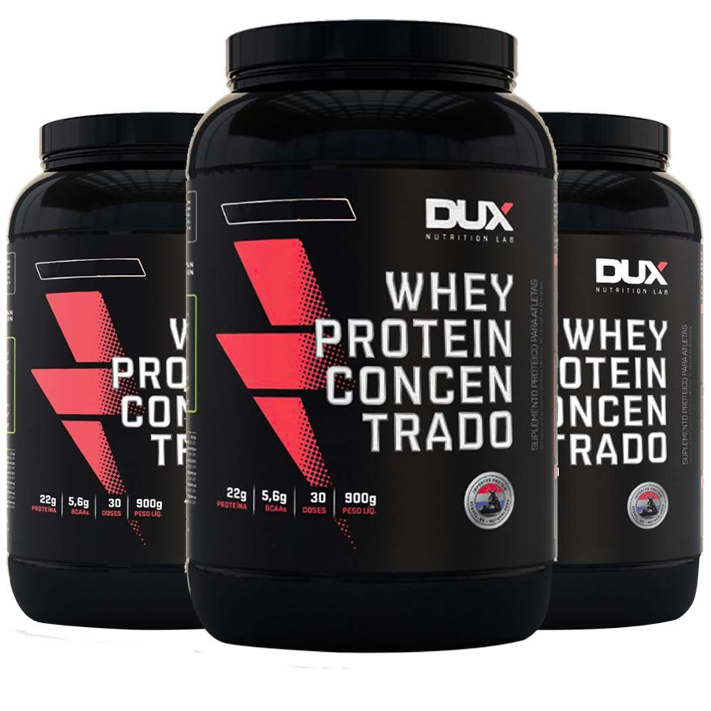 Whey Concentrado 900g Chocolate 3 Un  - Dux Nutrition  - KFit Nutrition