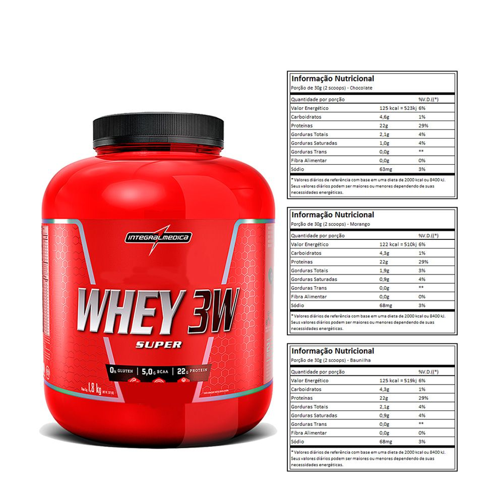 Super Whey 3w 1.8Kg Baunilha + Creatina Dux + Bottle  - KFit Nutrition