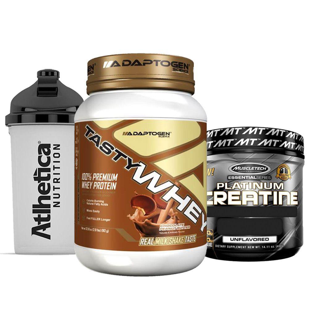 Tasty Whey 2 LB Choc Peanut + Creatine 400g + Bottle  - KFit Nutrition