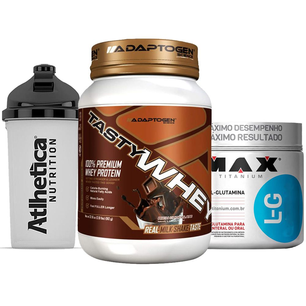 Tasty Whey 2 LB Chocolate + Glutamina 300g Max +Bottle  - KFit Nutrition