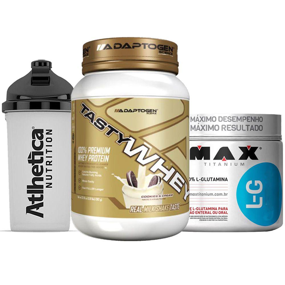 Tasty Whey 2 LB Cookies + Glutamina 300g Max + Bottle 500ml  - KFit Nutrition