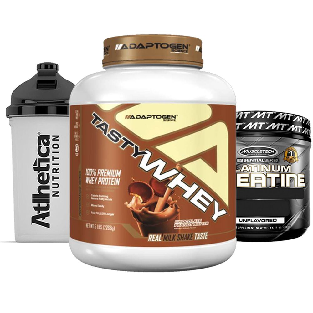 Tasty Whey 5 LBChoc Peanut + Creatine 400g + Bottle  - KFit Nutrition