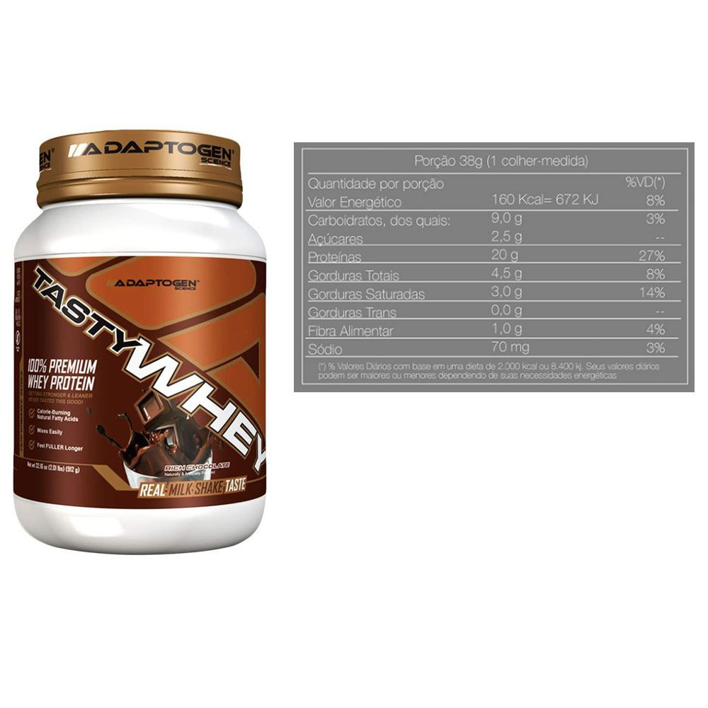 Tasty Whey Chocolate 2 LBS + Bcaa 90 Caps + Creatina  - KFit Nutrition