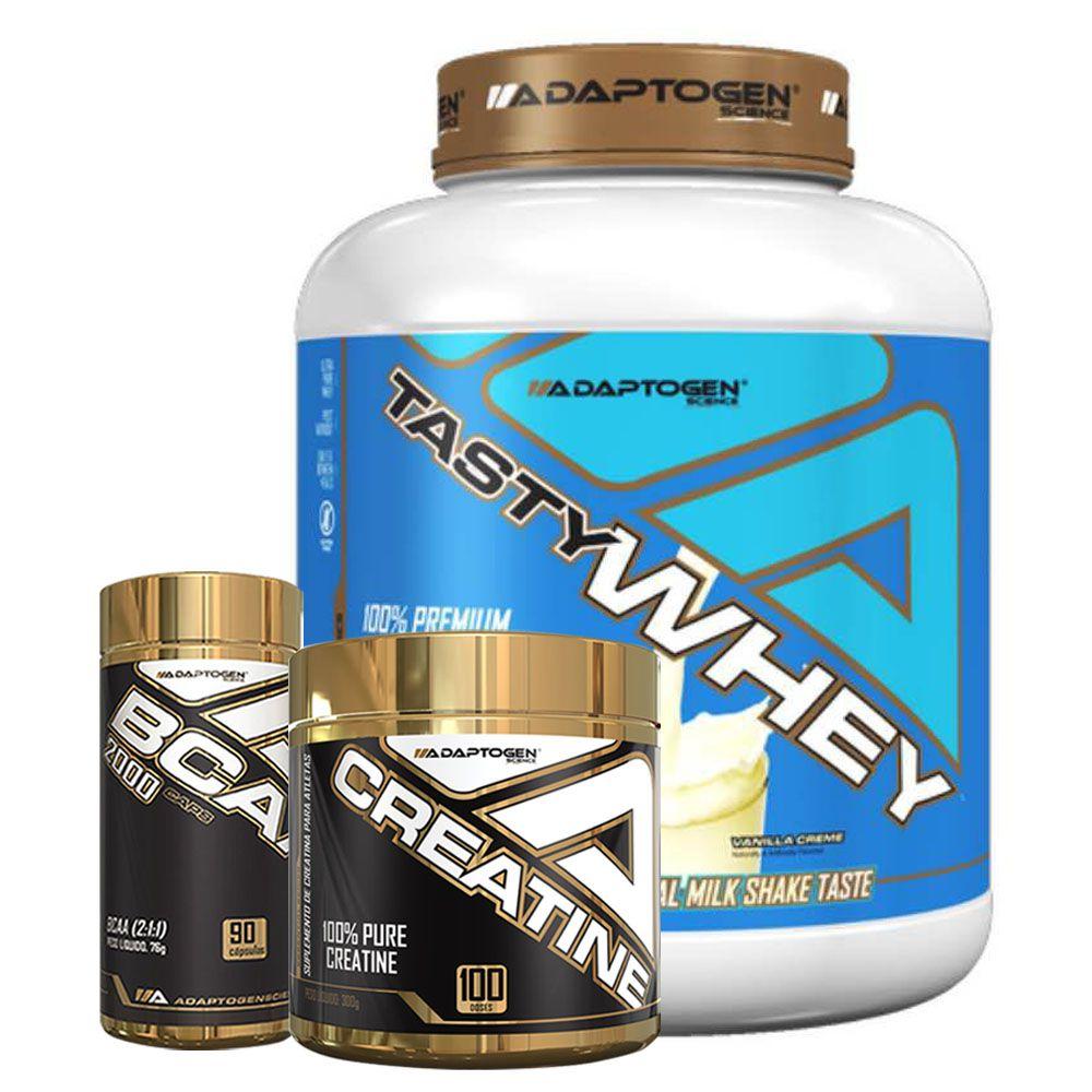 Tasty Whey Vanilla 5 LBS + Bcaa 90 Caps + Creatina  - KFit Nutrition