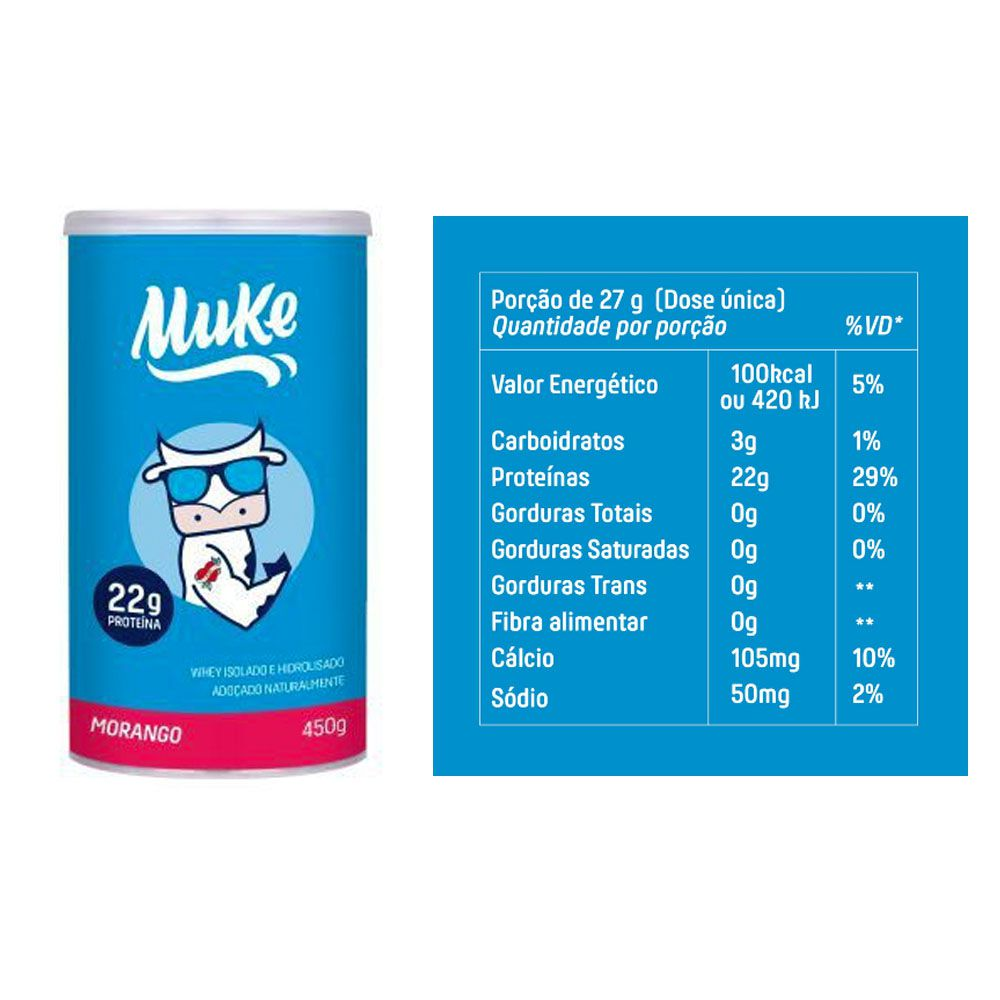Whey Muke 450g Morango + Cappuccino 120g  - KFit Nutrition