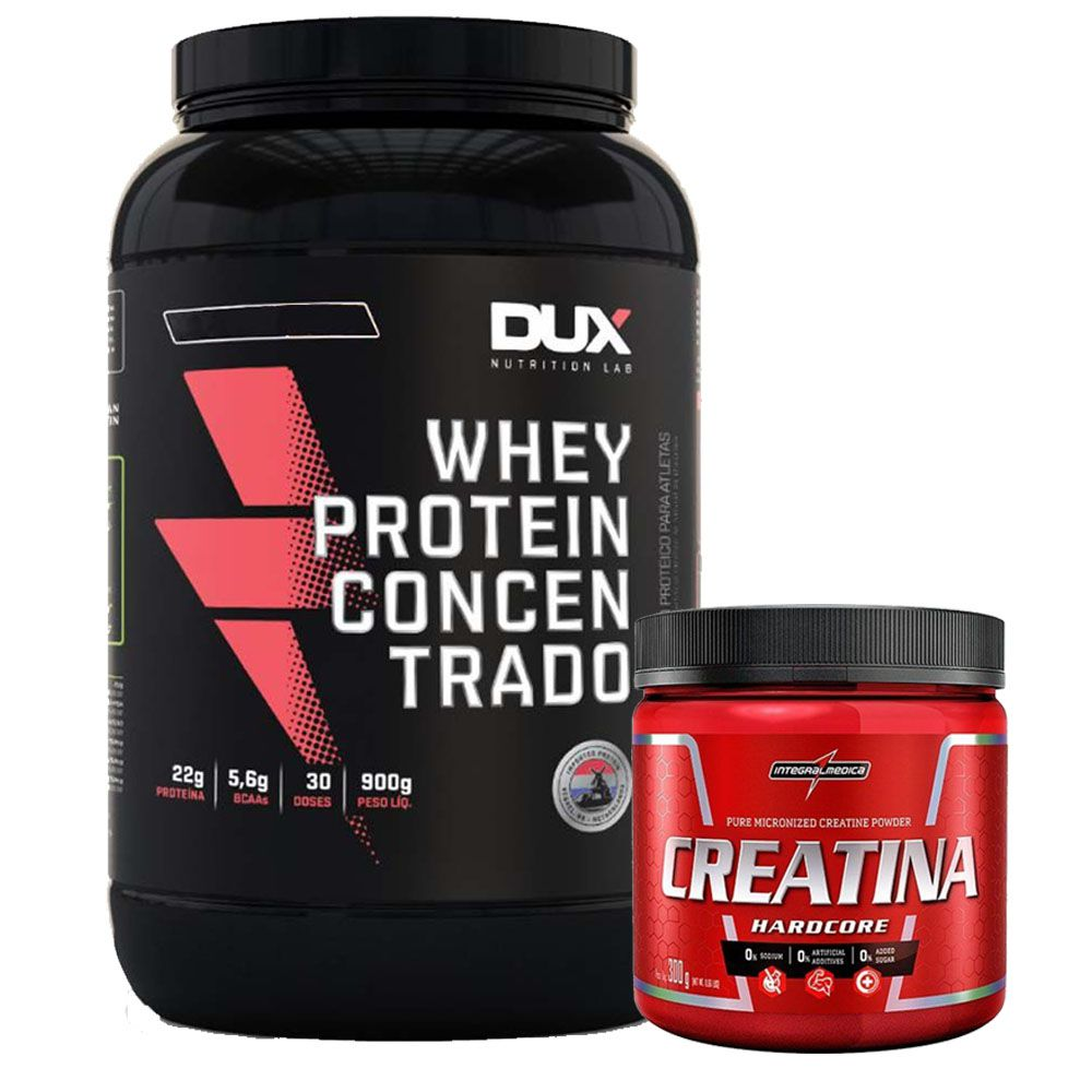 Whey WPC Cookies 900g Dux + Creatina 300g Integral  - KFit Nutrition