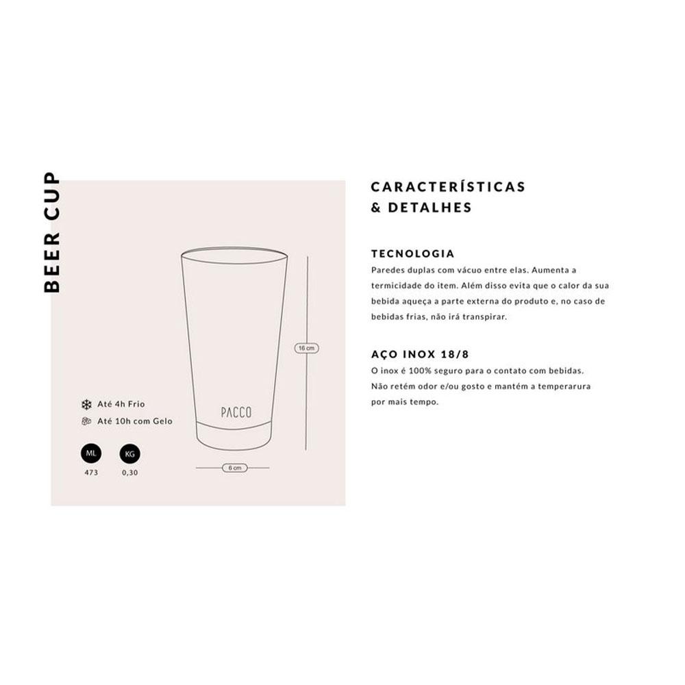 Copo Termico Inox Beercup C/ Abridor de Garrafa 473ml - Pacco  - KFit Nutrition