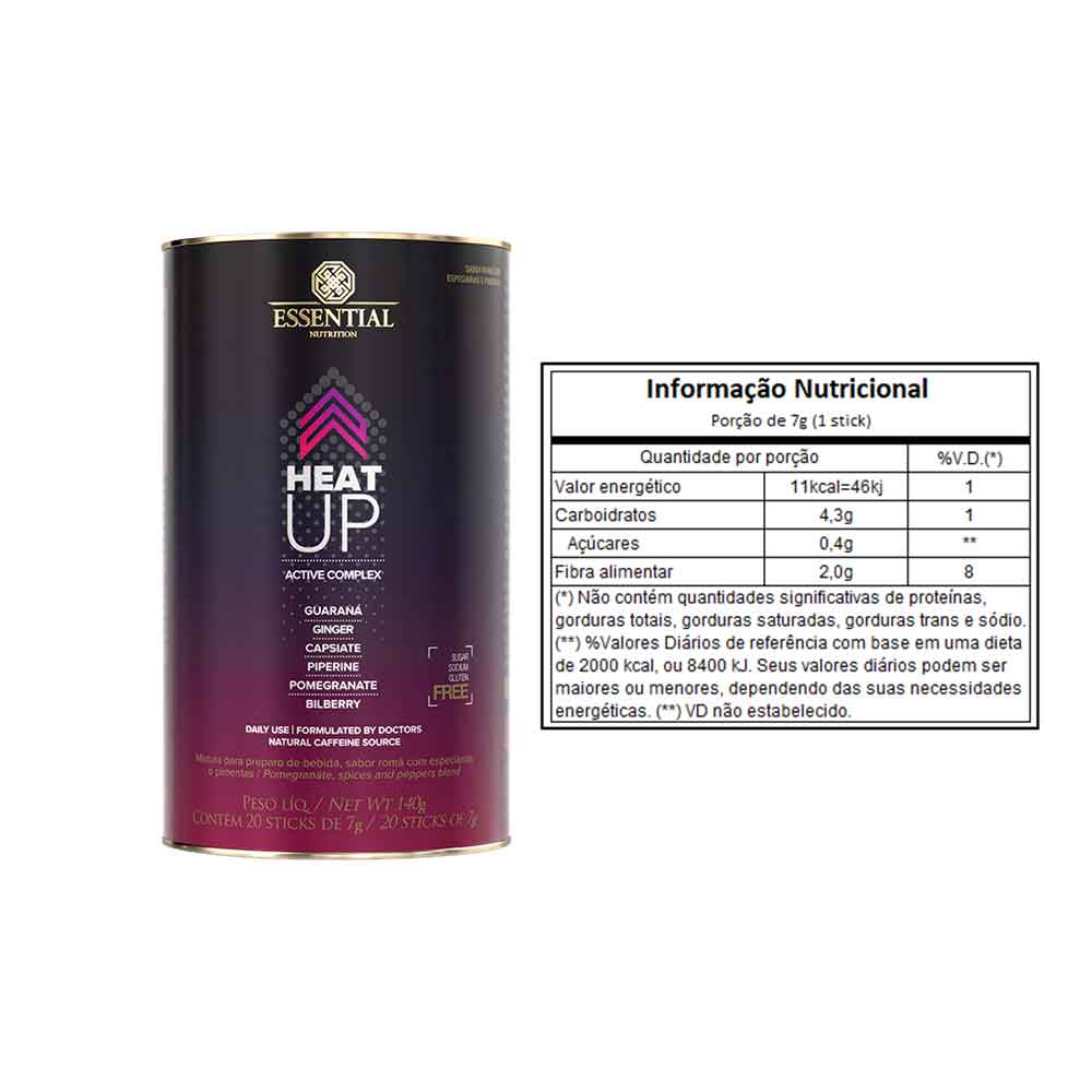 Coq10 Omega-3 + Natural Vitamin E 60 Caps Essential e Heat Up 140g ( 20 Unidades de 7 G ) Essential  - KFit Nutrition