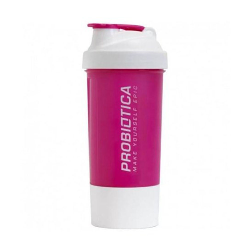 Coqueteleira 2 Compartimentos 700ml Rosa e Branco Probiótica  - KFit Nutrition