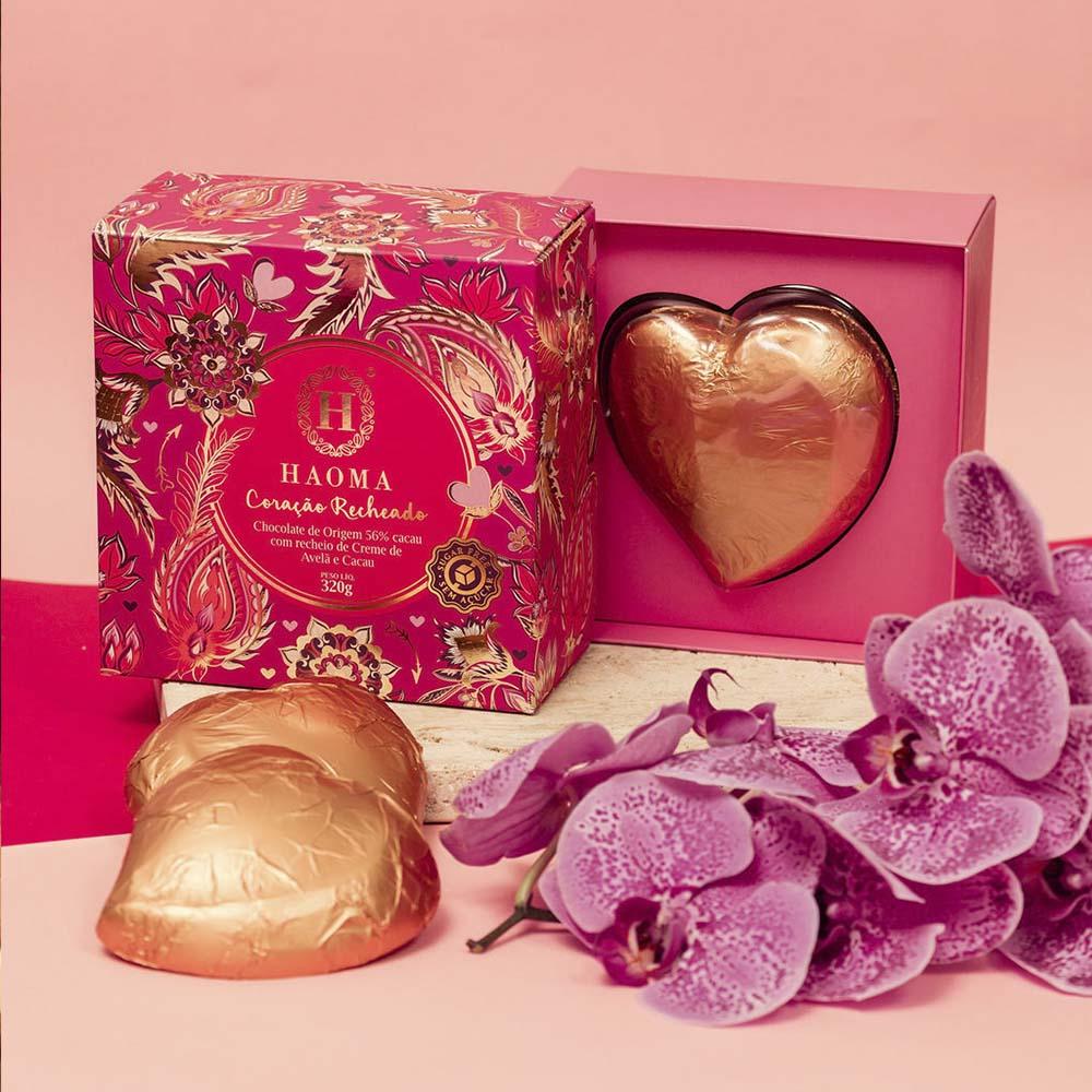 Coração de Chocolate Recheado de Creme de Avelã com Cacau 320g - Haoma  - KFit Nutrition