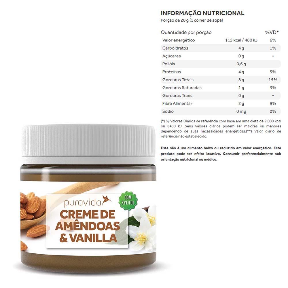 Creme de Amêndoas e Vanilla 300g - Puravida  - KFit Nutrition