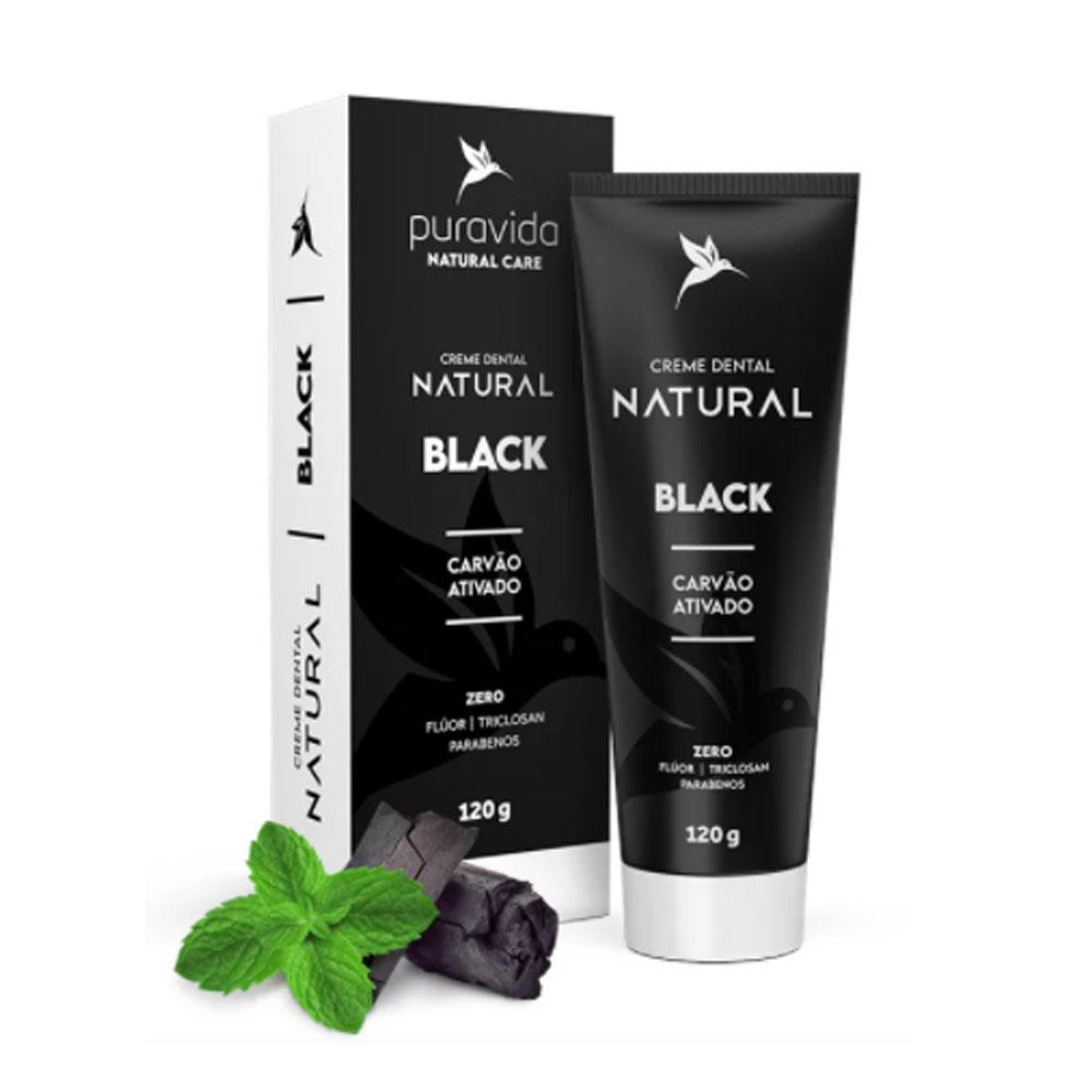 Creme Dental Black Carvão Ativado 120g - Puravida  - KFit Nutrition