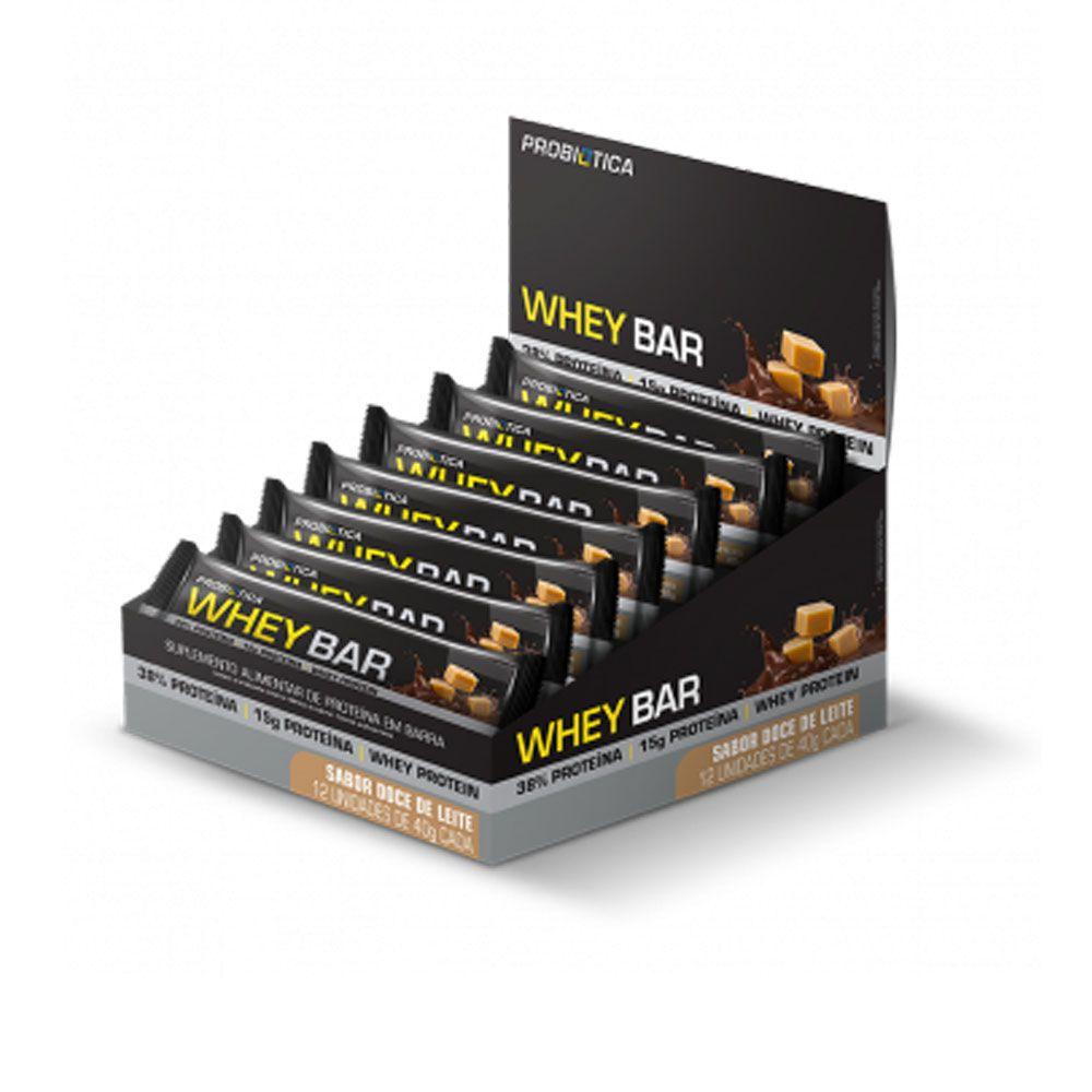 Cx 12 un Whey Bar Low Carb 40G Probiótica Doce De Leite  - KFit Nutrition