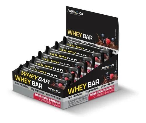Cx 12 Un Whey Bar Low Carb 40g Probiótica Frutas Vermelhas  - KFit Nutrition