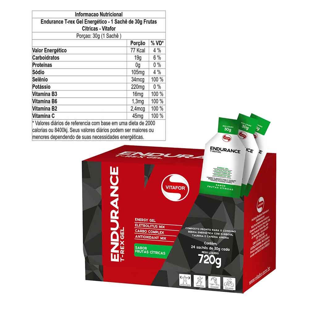 Cx 24un T-rex Gel 30g Vitafor Frutas Cítricas  - KFit Nutrition