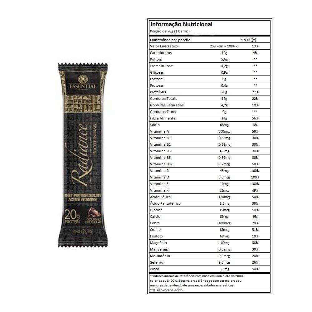 Radiance Protein Bar Gourmet Chocolate Cx 8 Un - Essential  - KFit Nutrition