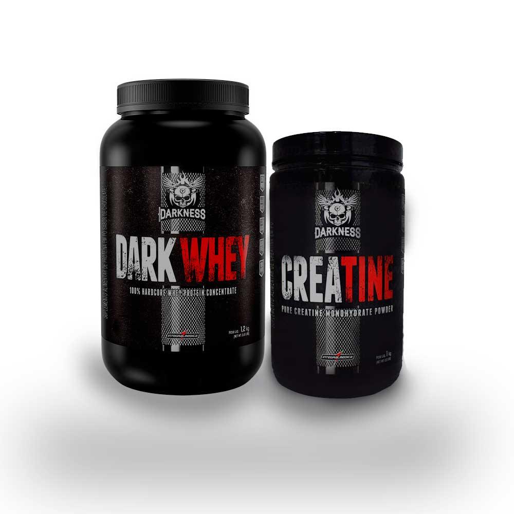 Dark Whey 1,20kg Morango  + Creatine 1Kg  - KFit Nutrition