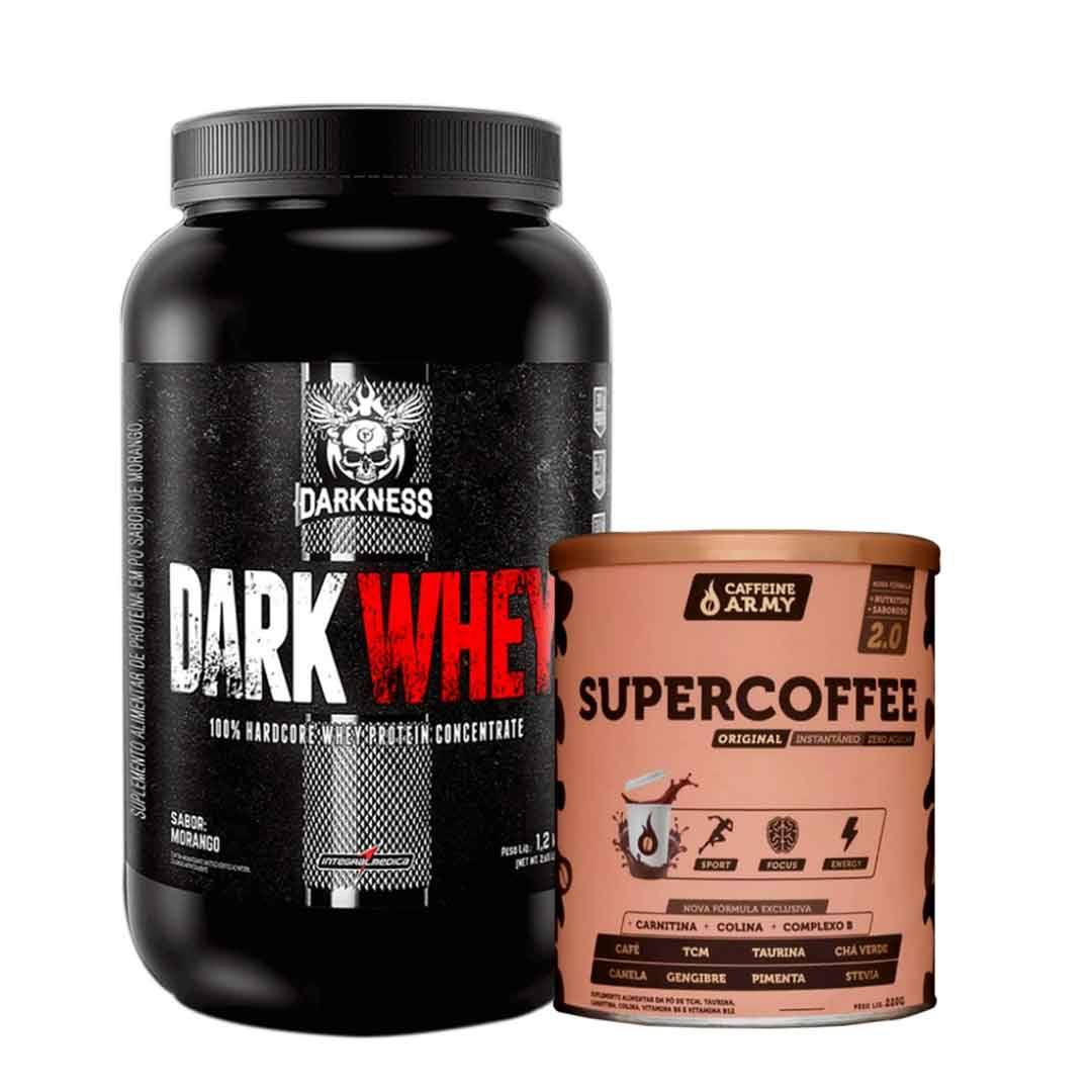 Dark Whey 1,20kg Morango + Supercoffee 2.0 220g  - KFit Nutrition