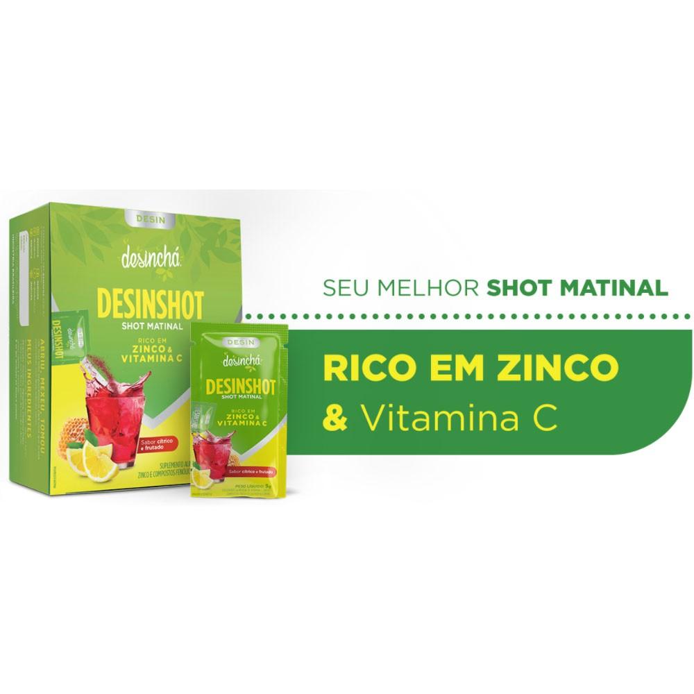 Desinshot Shot Matinal Citrico e Frutados 7 Sachês -Desinchá  - KFit Nutrition