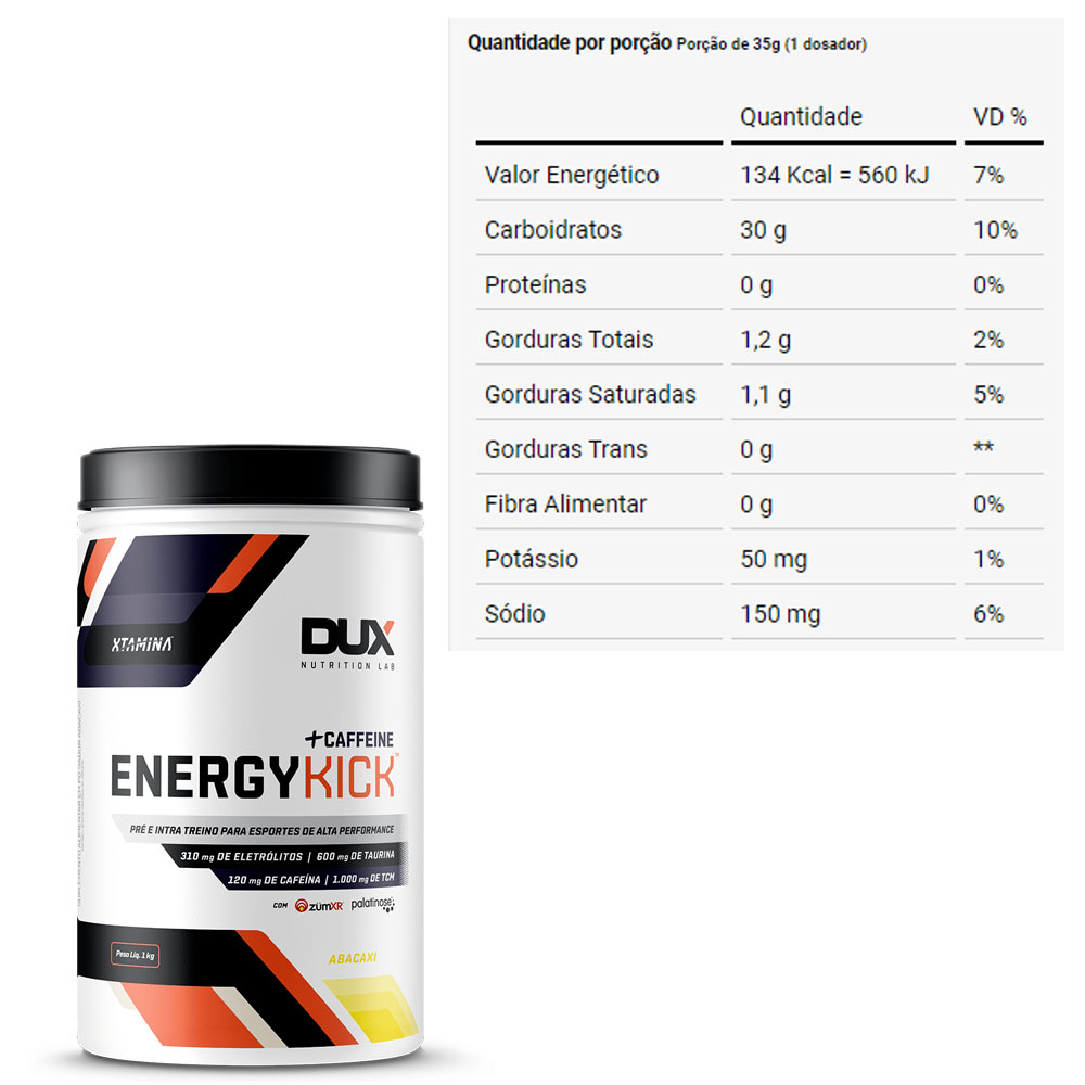 Energykick Com Cafeina + Caffeine Abacaxi 1Kg - Dux  - KFit Nutrition