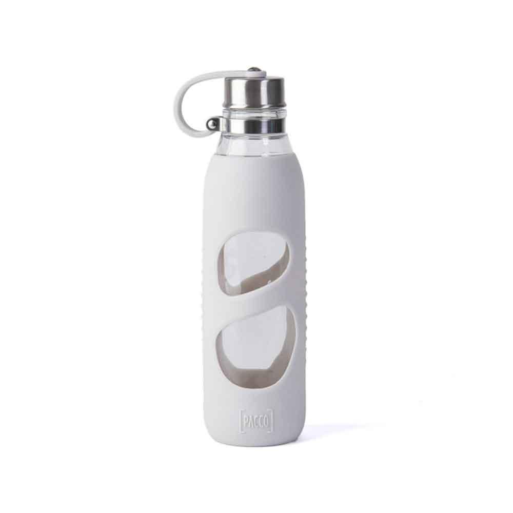 Garrafa Pureglass C/ Silicone Branco 600 Ml - Pacco  - KFit Nutrition