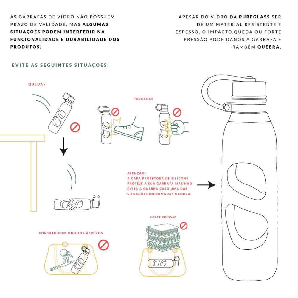 Garrafa Pureglass C/ Silicone Pink 600 Ml - Pacco  - KFit Nutrition
