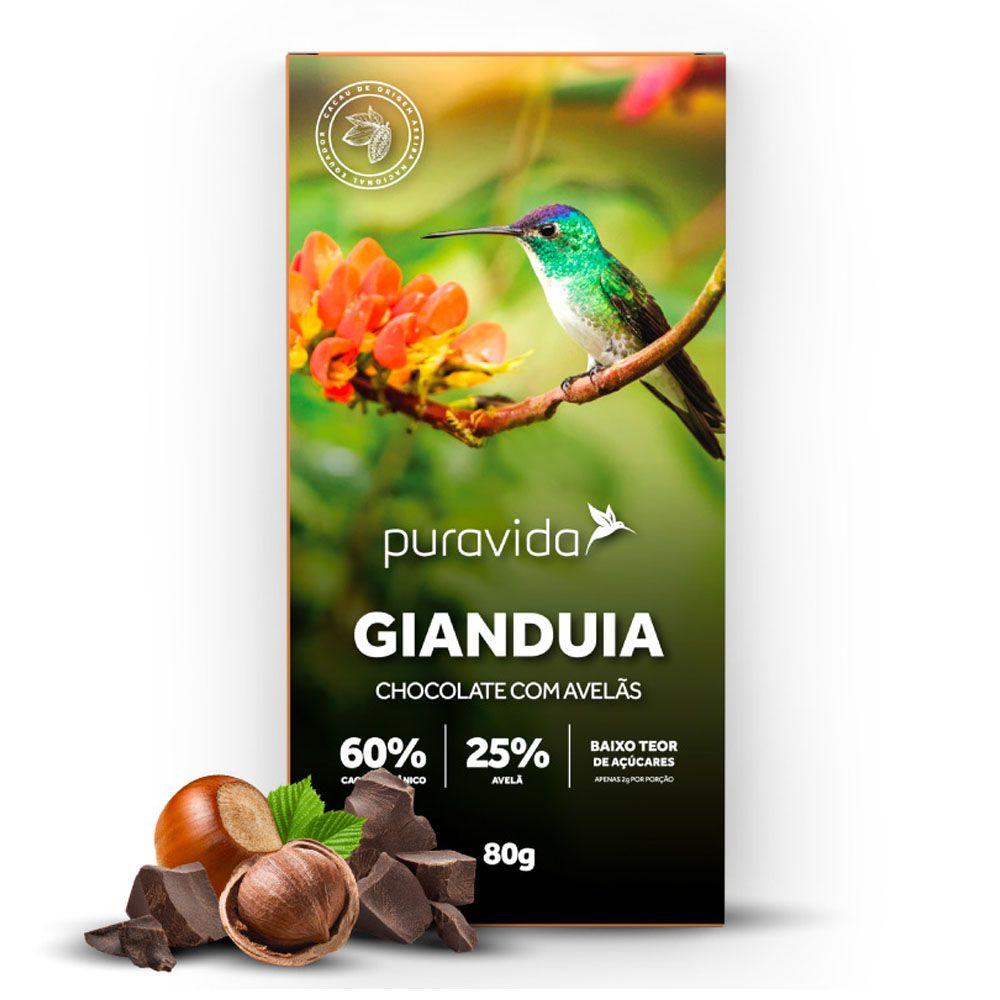 Gianduia Chocolate Com Avelãs 80g - Pura Vida  - KFit Nutrition