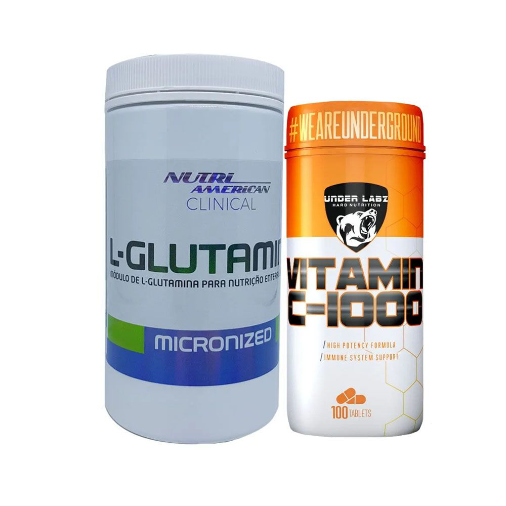 Glutamina Clinical 1Kg Nutri + Vitamina C 1000 100 Tabs  - KFit Nutrition