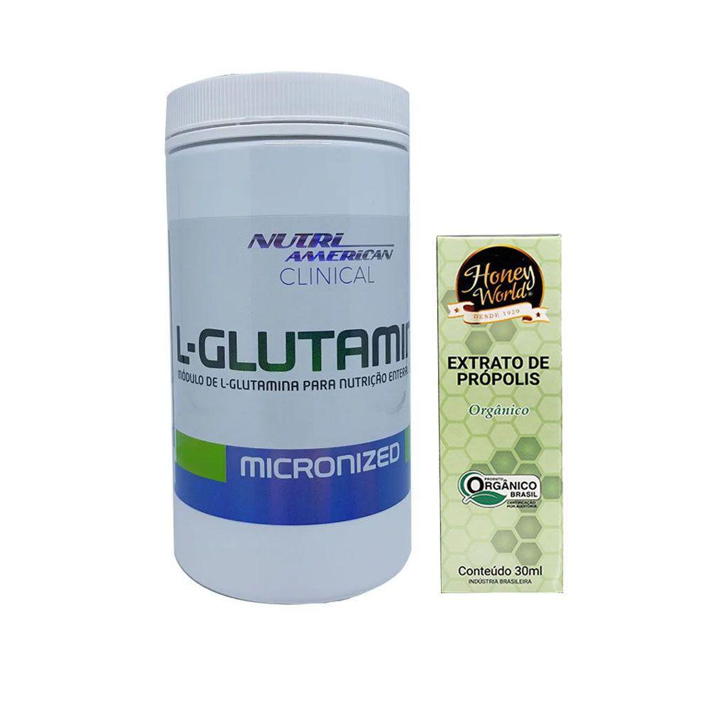 Glutamina Clinical Nutri American 300g  + Própolis Orgânico  - KFit Nutrition