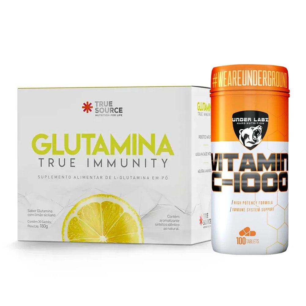 Glutamina True Immunity - True + Vitamina C 1000 100 Tabs  - KFit Nutrition