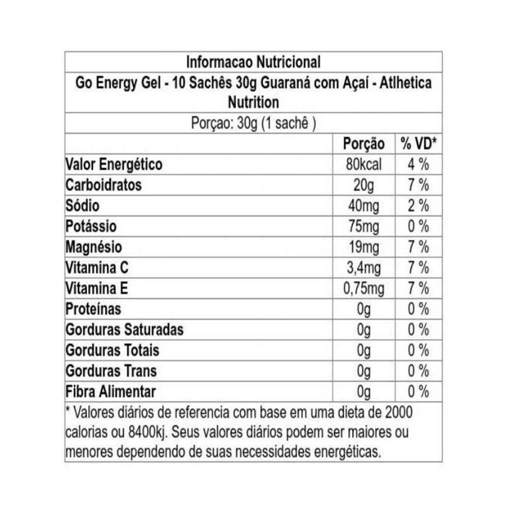 Go Energy Gel Caffeine Guarana com Acai - 01 Sachê Atlhetica Nutrition  - KFit Nutrition