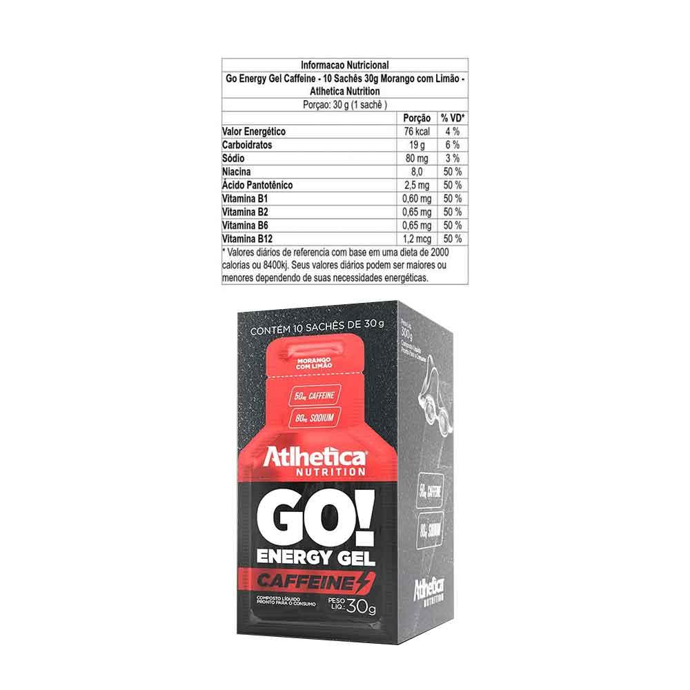 Go Energy Gel Caffeine Morango com Limao - 01 Sachê Atlhetica Nutrition  - KFit Nutrition