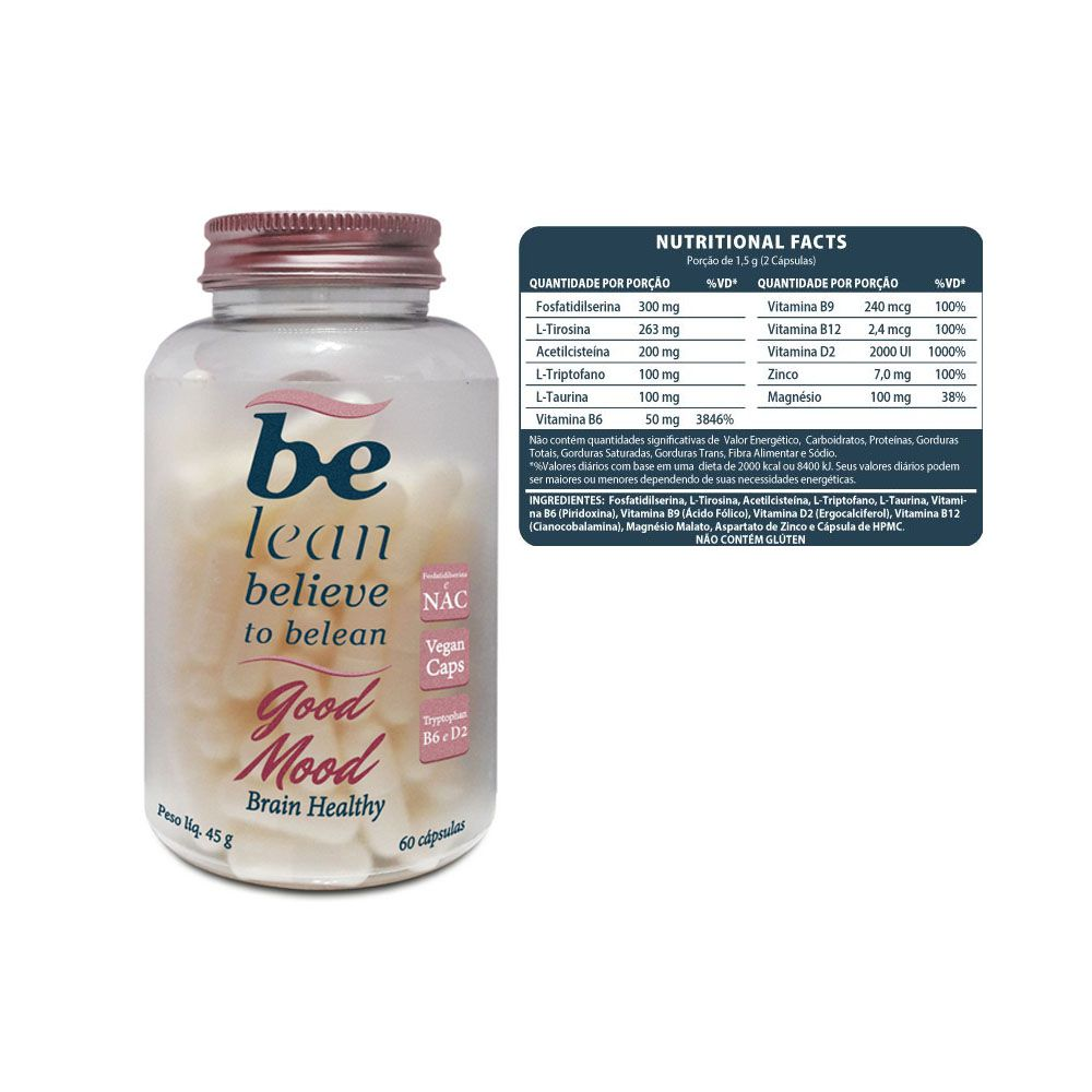 Good Mood Brain Healthy 60 Cápsulas 45g - Be Lean  - KFit Nutrition
