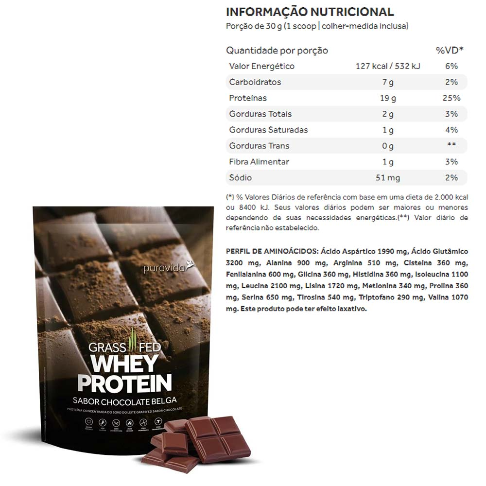 Grass Fed Whey Protein Chocolate Belga  450g Puravida  - KFit Nutrition
