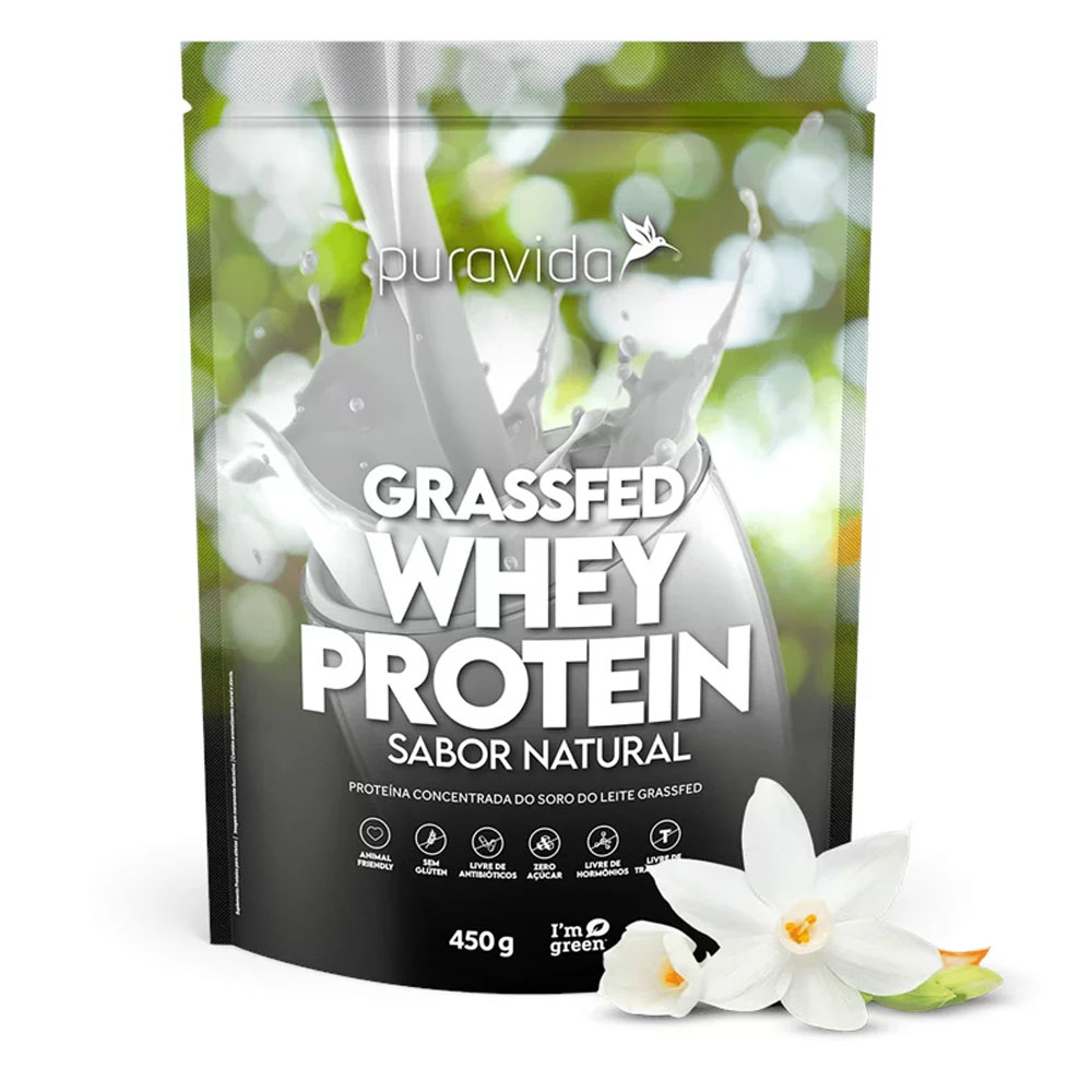 Grass Fed Whey Protein Sabor Natural 900g Puravida  - KFit Nutrition