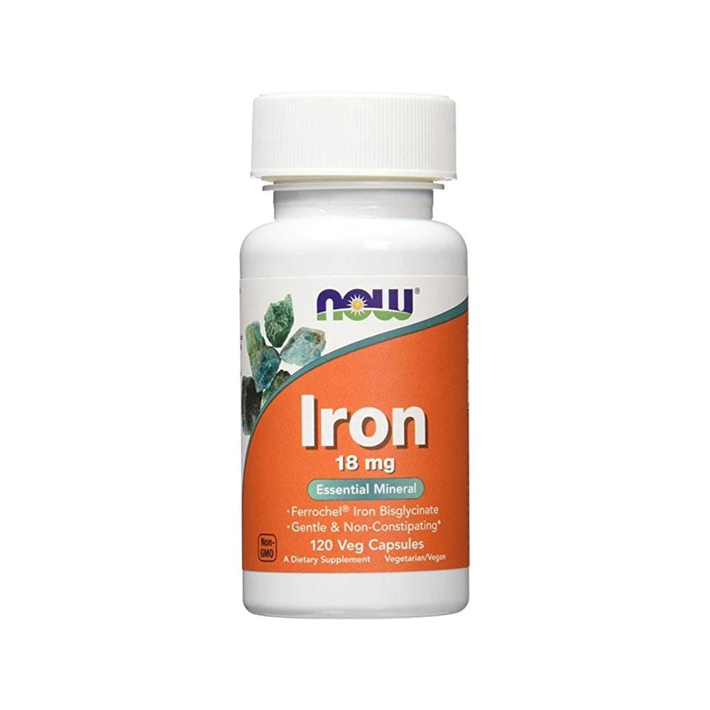 Iron 18mg 120 Veg Capsulas - Now  - KFit Nutrition