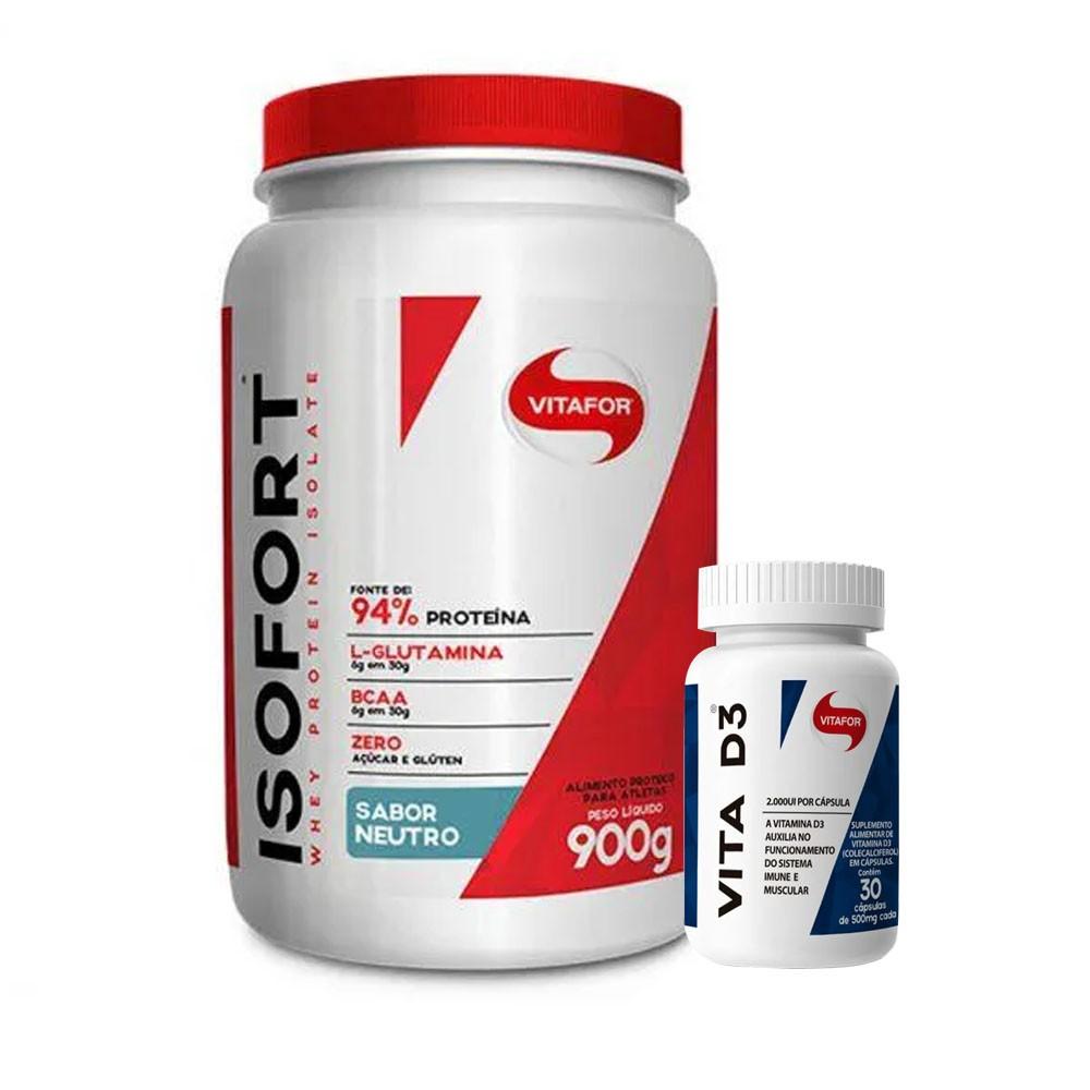 Isofort 900g Neutro + Vitamina D 30 Caps - Vitafor  - KFit Nutrition
