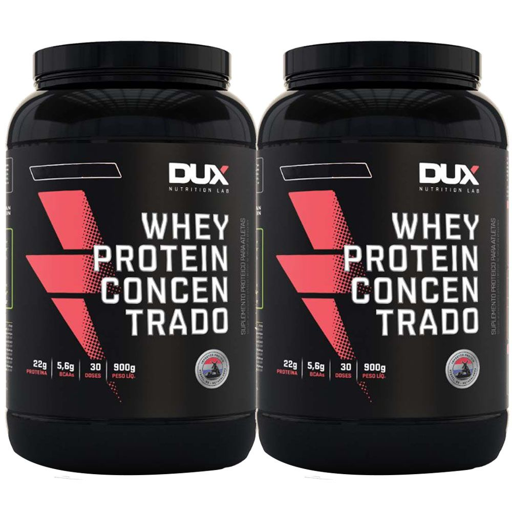 Whey Concentrado 900g Chocolate Dux 2un 50% Off na Segunda Unidade  - KFit Nutrition