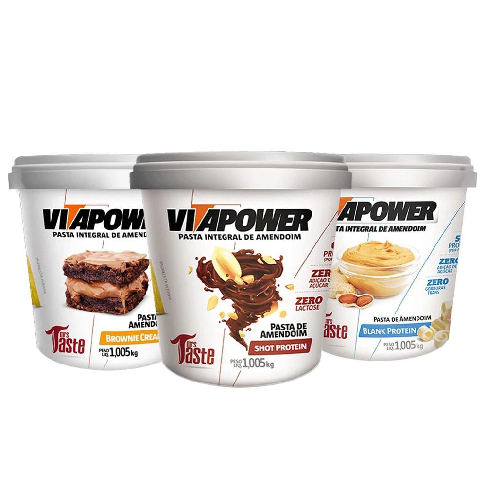 Kit 3 Pastas de Amendoim Vitapowere Brownie, Chocolate Branco e Shot  - KFit Nutrition